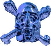 Skull and cross bones. Blue metallic skull and cross bones isolated on white background Stock Image
