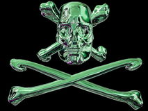 Skull and cross bones. Green metal pirate skull and cross bones isolated on black background Stock Images