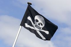 Skull and cross bones. Flag skull and cross bones stock image