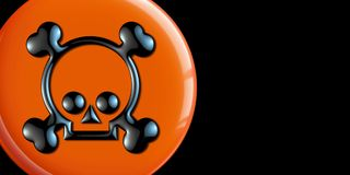 Skull and cross bones button. Skull and cross bones on orange button with black background and copy space Royalty Free Stock Images