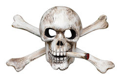 Skull and Cross Bones with Cigarette. Isolated with clipping path royalty free stock images