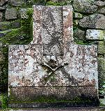Skull and Cross Bones on a Headstone in the Moorish Castle at Sintra. Portugal stock photography