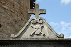 Skull and cross in cemetery stock image