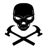 Skull and cross hammers. Black Skull and crossed hammers Stock Image