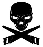 Skull and cross saws. Black Skull and cross saws Royalty Free Stock Photo