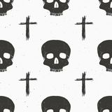 Skull and cross sumbol seamless pattern, hand drawn sketch vector illustration.  Stock Photo