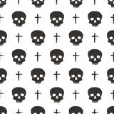 Skull and cross sumbol seamless pattern, hand drawn sketch vector illustration.  Royalty Free Stock Photos
