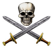Skull and Cross Swords Pirate Sign Royalty Free Stock Photos