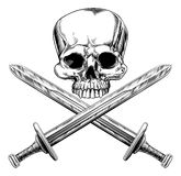 Skull and Cross Swords Stock Photos