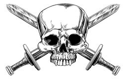 Skull and Cross Swords Woodcut Royalty Free Stock Photos