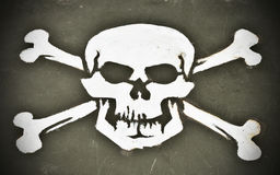Skull and Crossbones. Painted onto the hood of a WWII military vehicle Stock Image