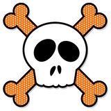 Skull and Crossbones. Fun cartoon of skull and crossbones, with bones decorated in dotted pattern Royalty Free Stock Photo