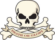 Skull and Crossbones. Jolly Roger symbol with Death or Glory banner Royalty Free Stock Photos