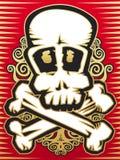 Skull with crossbones. Gold, ed and black stock illustration