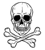 Skull and Crossbones. Isolated over white background. Freehand drawing stock illustration