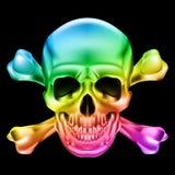 Skull and crossbones. Rainbow Skull and Crossbones. Illustration on black background royalty free illustration