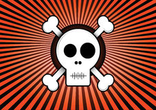 Skull and Crossbones. With red rays background Illustration stock illustration
