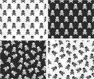 Skull & Crossbones Aligned & Random Seamless Pattern Set Royalty Free Stock Photo