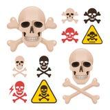 Skull with crossbones as a symbol of danger alert Stock Photos