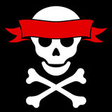 Skull with crossbones and banner Stock Photo