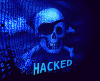 Skull and crossbones on binary code with message about hacking Stock Photo