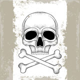 Skull and crossbones in black on the textured beige background Royalty Free Stock Image