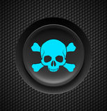 Skull and crossbones button Royalty Free Stock Images