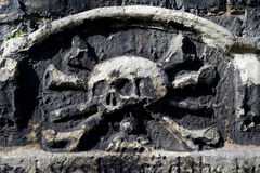 Skull & Crossbones Carving on a Gravestone Stock Photography