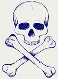 Skull and crossbones. Doodle style Royalty Free Stock Image