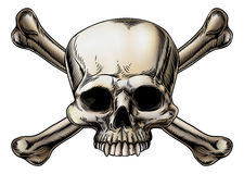 Skull and crossbones drawing. With skull in the center of the crossed bones stock illustration