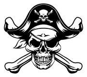 Pirate Skull and Crossbones. A skull and crossbones dressed as a pirate with hat and eye patch stock illustration