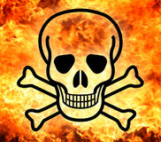 Skull and crossbones with fire background Stock Images