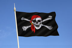 Skull and Crossbones Flag - Jolly Roger Royalty Free Stock Photography