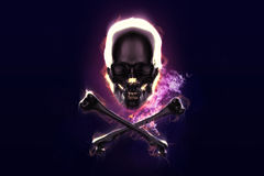 Skull and crossbones in flame. On dark backgrond Royalty Free Stock Photography
