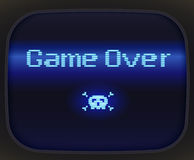 Skull and crossbones. Game over, tv game. Skull and Crossbones made of pixel Stock Photo