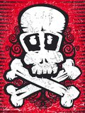 Skull with crossbones grunge. Grunge skull with crossbones. Red and black Royalty Free Stock Image