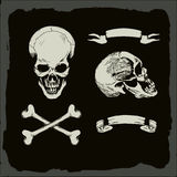 Skull and crossbones,. On gunge background, pirate, heavy metal cover template royalty free illustration