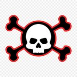 Skull and crossbones, icon. The concept of warning of mortal danger. Pirate`s mark. Vector. stock illustration