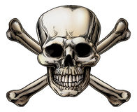 Skull and Crossbones Icon. A skull and crossbones icon illustration of a human skull with crossed bones behind it royalty free illustration