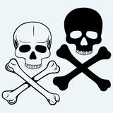 Skull and crossbones. Isolated on blue background Royalty Free Stock Photography