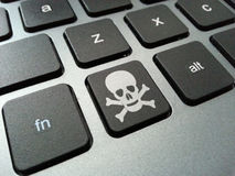 Skull and Crossbones Keyboard Button. An illustration of a computer keyboard button with the skull and crossbones symbol. The illustration can be related to Royalty Free Stock Image