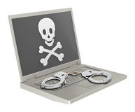 Skull and crossbones on the laptop screen Royalty Free Stock Image