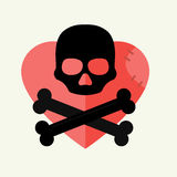 Skull and crossbones mark of the danger warning on red heart and dead skeleton horror art human halloween symbol vector. Illustration. Pirate evil spooky Stock Photos