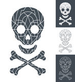 Skull and crossbones with mosaic pattern Royalty Free Stock Images