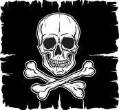 Skull and Crossbones over black flag Stock Image