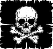 Skull and Crossbones over black flag. Freehand drawing Stock Image