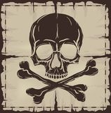 Skull and Crossbones over old damaged map Stock Images