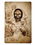 Skull and Crossbones over old damaged paper Stock Photo
