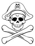 Skull and Crossbones Pirate Cartoon. A cartoon Halloween pirate Jolly Roger skull and crossbones sign Stock Photo