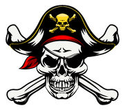 Skull and Crossbones Pirate. A skull and crossbones dressed in pirate costume with hat and eye patch Stock Image